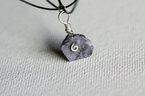 Pretty Tanzanite with some rough Necklace hung by by PrettyBauble