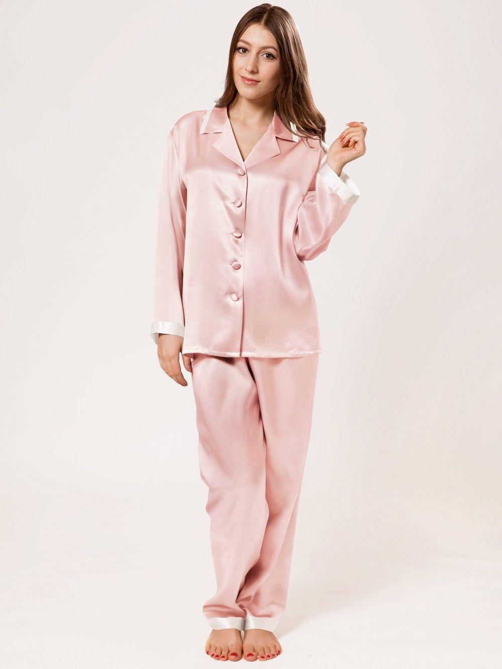 Long Sleeves Silk Pajama Set for Women | Silk pajama set
