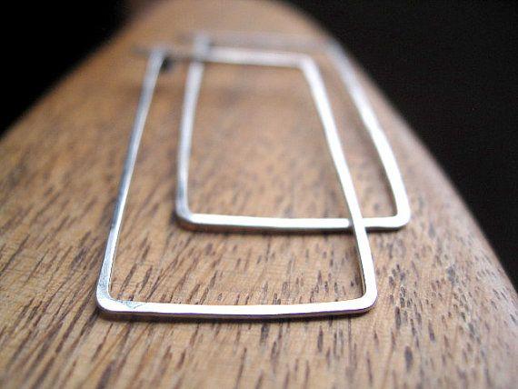 eco friendly hoops. rectangle hoops in sterling silver. silver earrings. recycled silver. splurge.