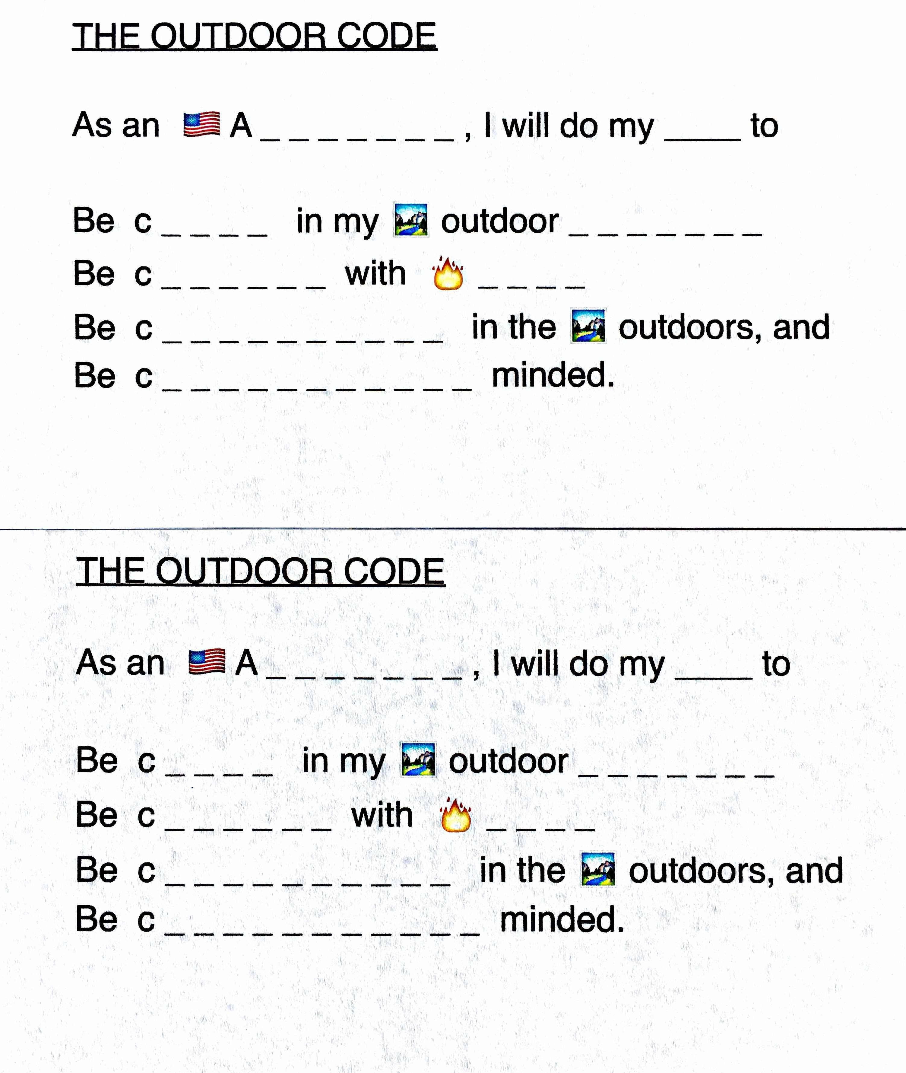 Agile image within cub scout outdoor code printable