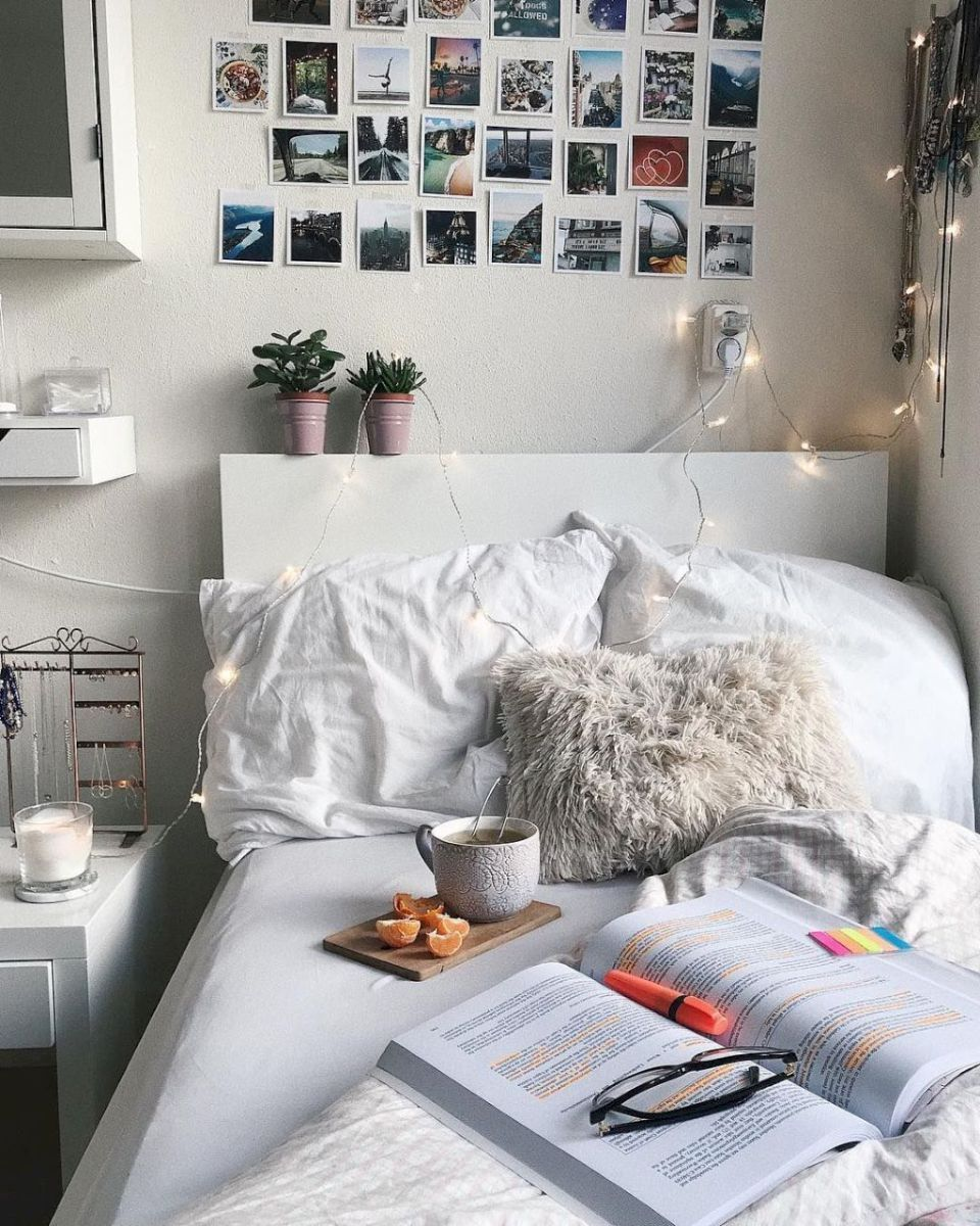 Beautiful, cozy bedroom home decor with fluffy pillows, cute ...