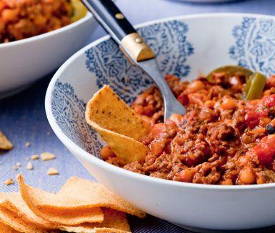 chili con carne köttfärs vita bönor