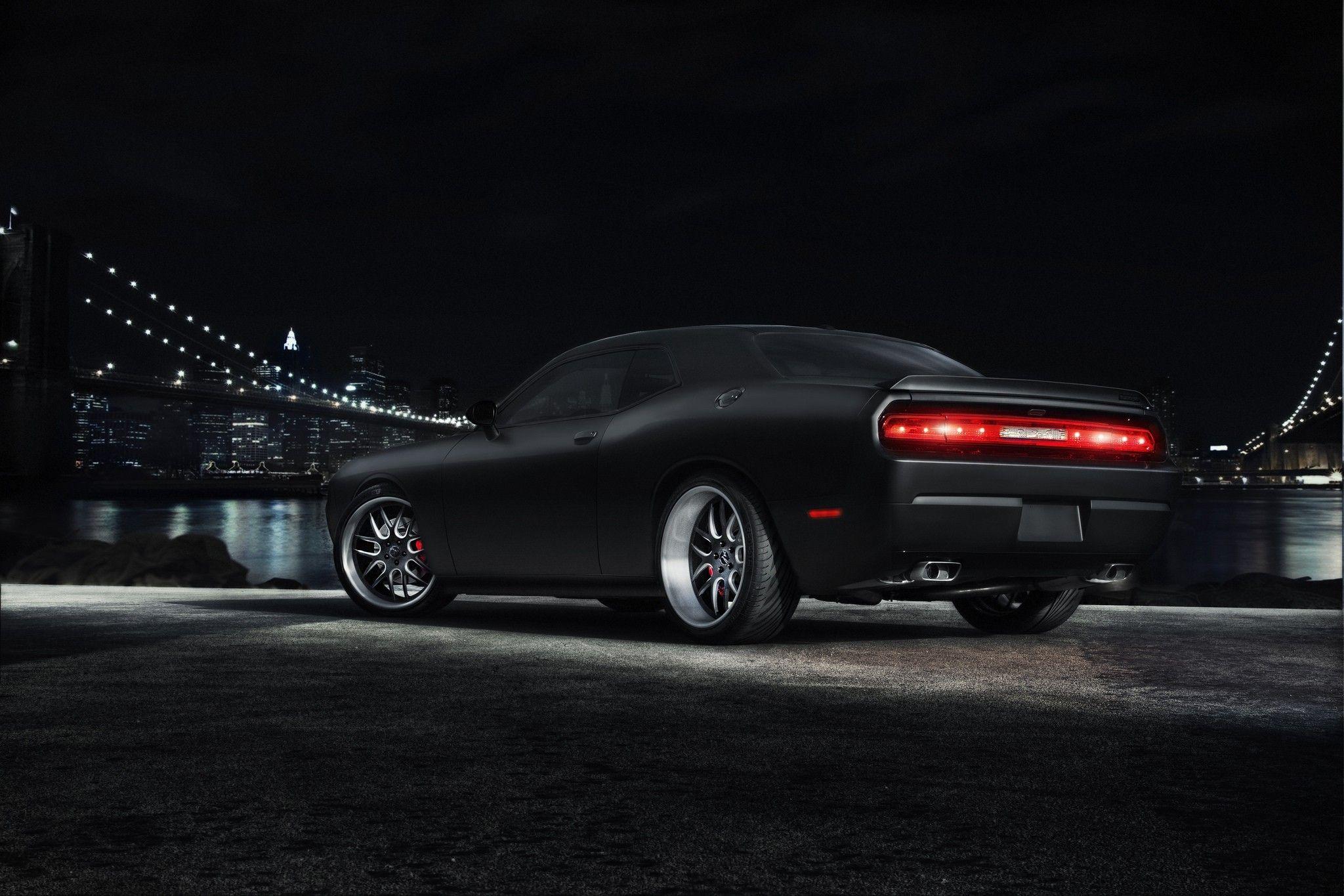 Dodge Challenger Black Muscle Car Bridge City Metropolis
