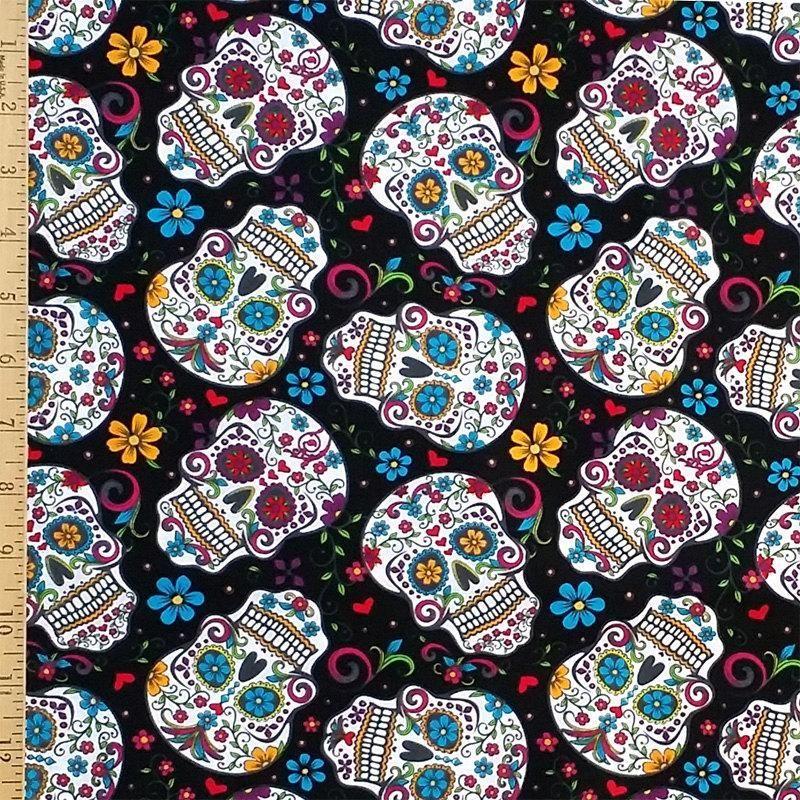 Skulls Floral On Black 100% Cotton Fabric Skull Fabric, Printing On  Fabric, Sugar Skull