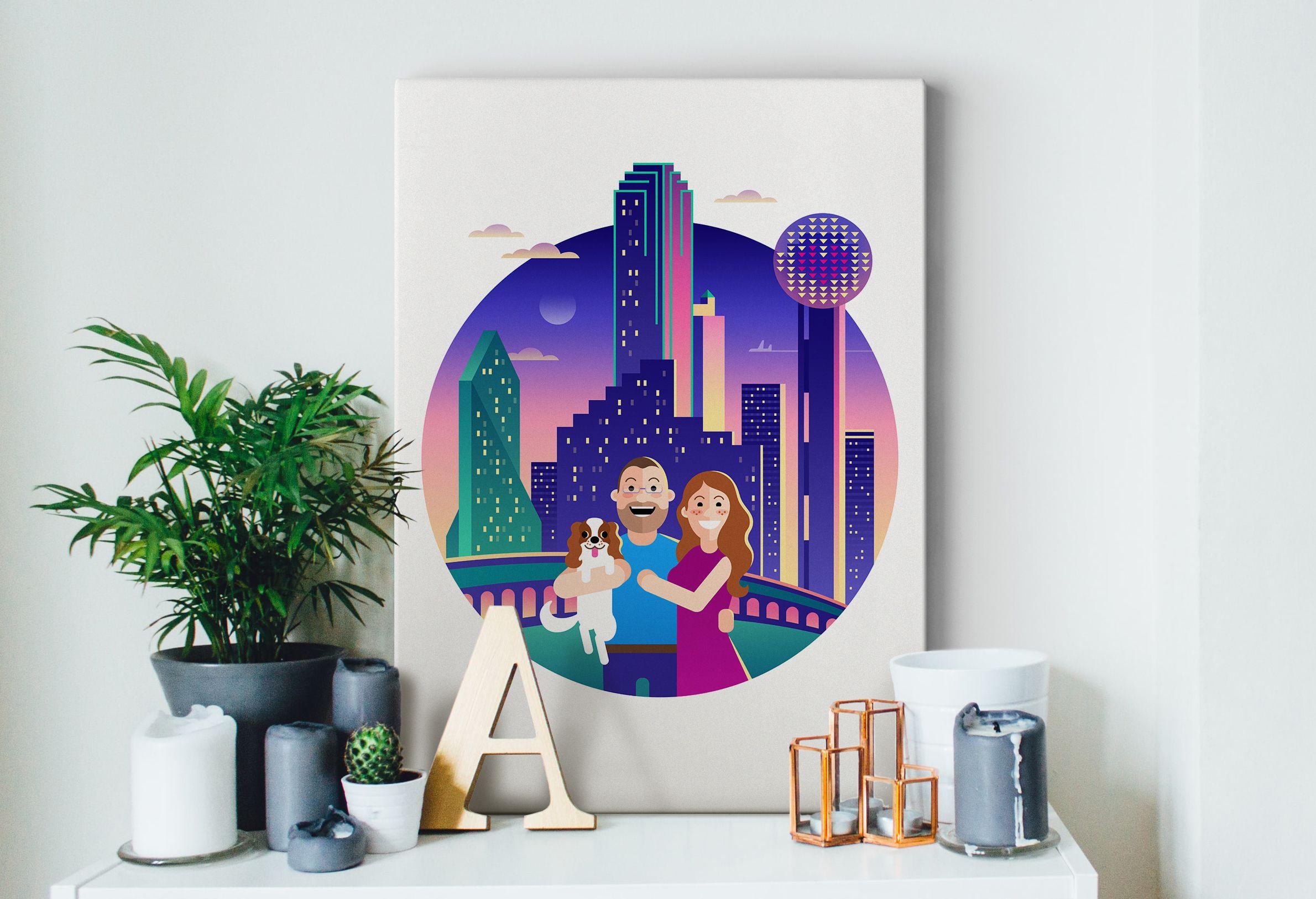 Custom Dallas Skyline Illustration Illustration, Dallas