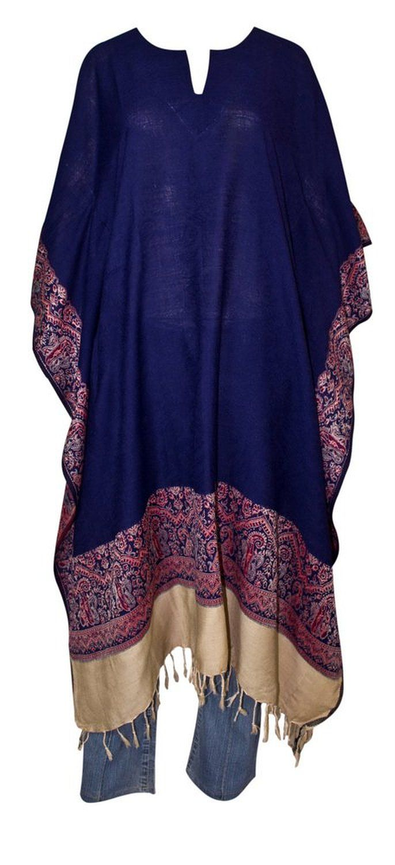 Starlite indische Kaftan lang poncho schal umhang Damen Blau 114cm x 114cm-KOSTENLOSE LIEFERUNG: Amazon.de: Bekleidung