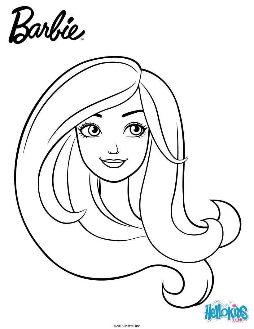 Maquille Et Colorie Ce Beau Portrait De Barbie A Imprimer Gratuitement Ou Colorier En Ligne Sur Hellokids Com Coloriage Barbie Coloration Barbie Coloriage