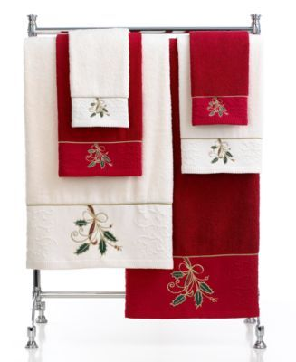 Lenox Bath Towels Ribbon And Holly Collection Macys Com
