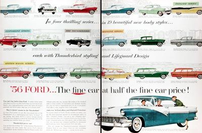 1956 Ford Model Line Vintage Ad Featuring The Fairlane Town Sedan Club Sedan Crown Victoria Crown Victoria Skyliner Sunliner Car Prices Ford Ford Models