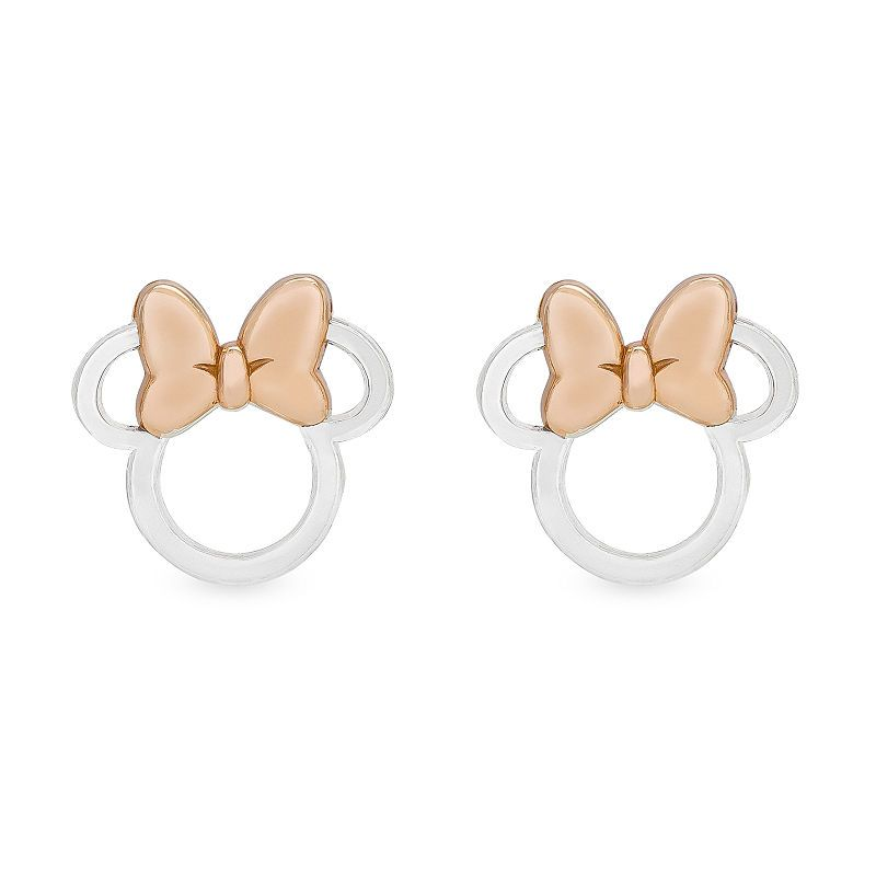 beb9a2ee6 Disney 14K Rose Gold Over Silver Sterling Silver 10.3mm Minnie Mouse Stud  Earrings