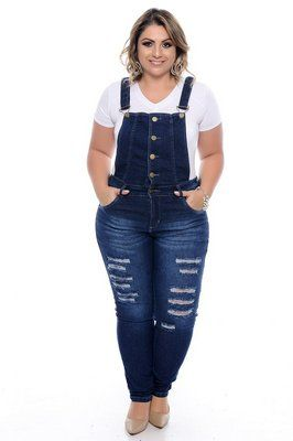 3612c845b0 Jardineira Jeans Plus Size Marilu