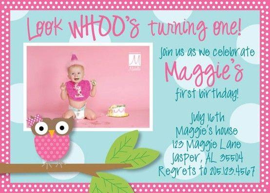 Owl birthday invitation    media-cache7pinterest upload - invitation for 1st birthday party girl