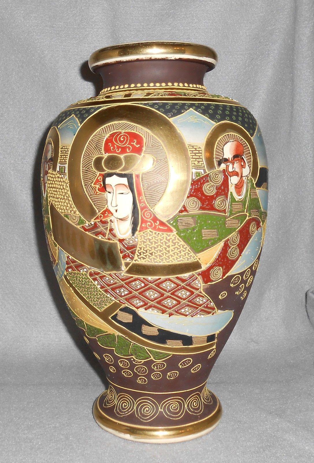 Antique Japanese Kutani Satsuma Moriage Porcelain Baluster