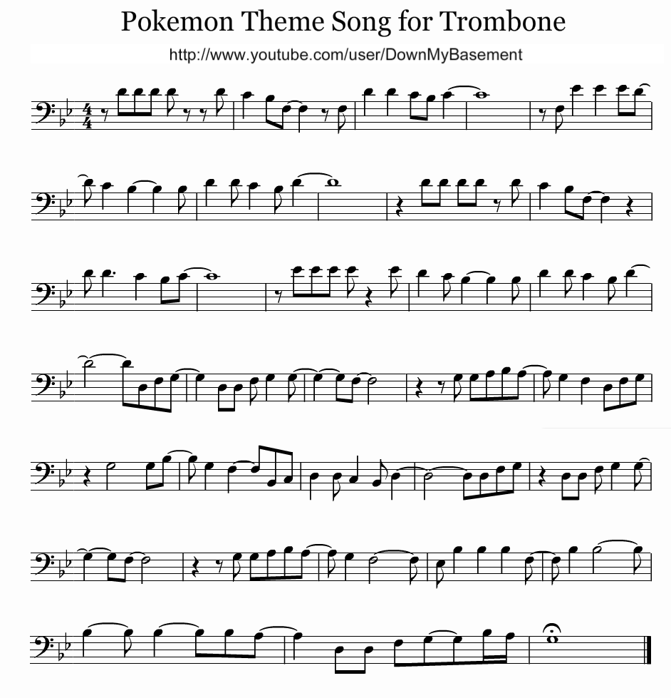 How To Play Pokemon Theme Song On Trombone Trombone Sheet Music Trombone Music Trombone