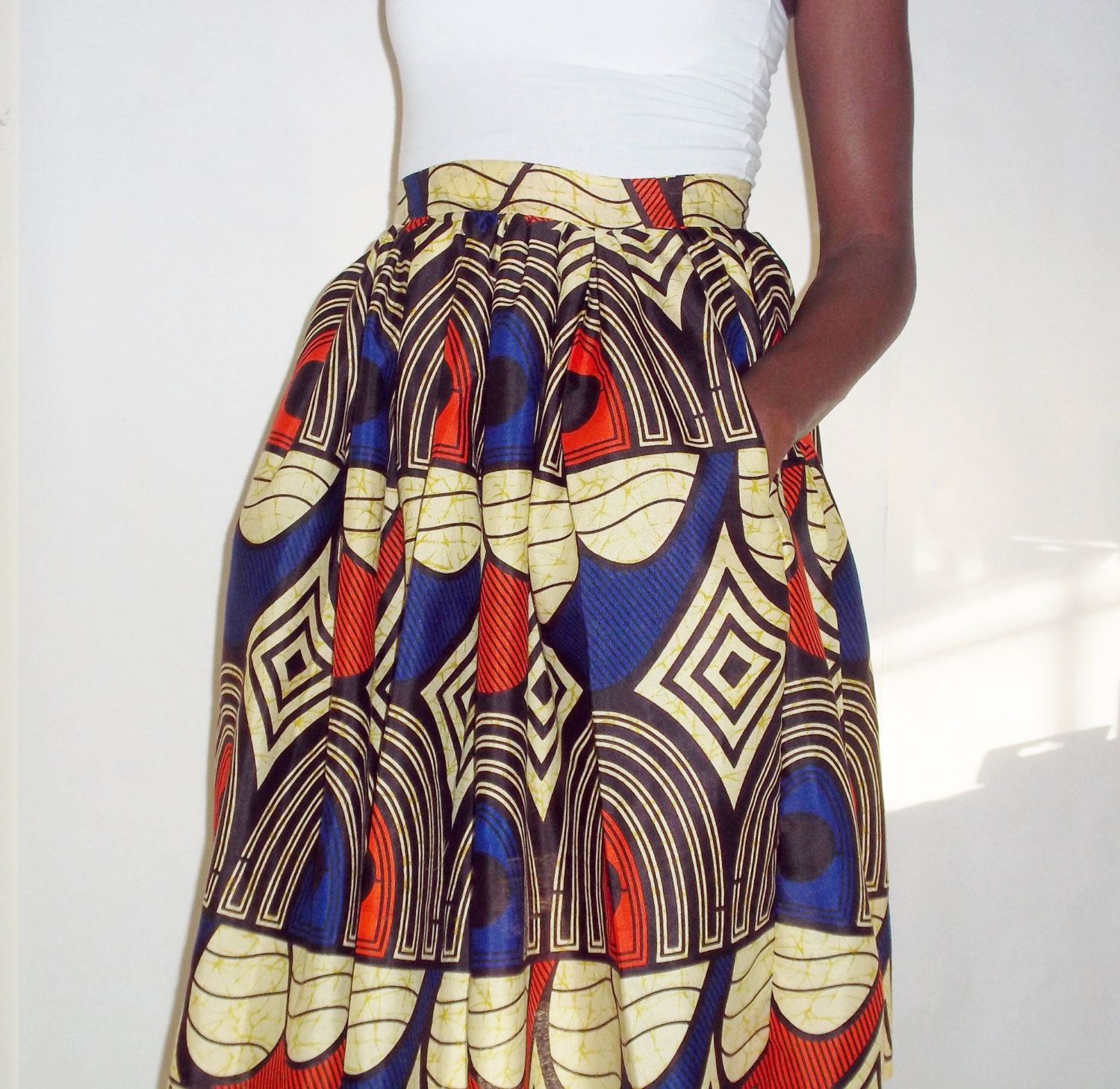 Ankara Full Skirt in Orange and Blue by PrisstheShop on Etsy, $49.00 #AfricaFashion #AfricanPrints #AfricanPrints #kente #ankara #AfricanStyle #AfricanInspired