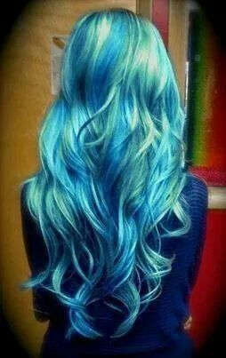 Blue and green hair, cool.