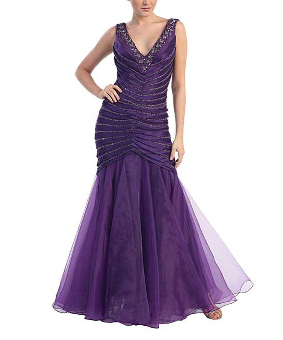 Look at this #zulilyfind! MayQueen Purple Chiffon Hand-Beaded V-Neck Gown & Shawl by MayQueen #zulilyfinds