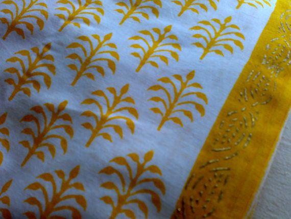 Tree Print White Gold Yellow Cotton  Printed Indian by RaajMa