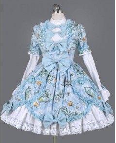 Modrá a bílá Bow vytisknout a prohrábnout Rokoko Lolita šaty