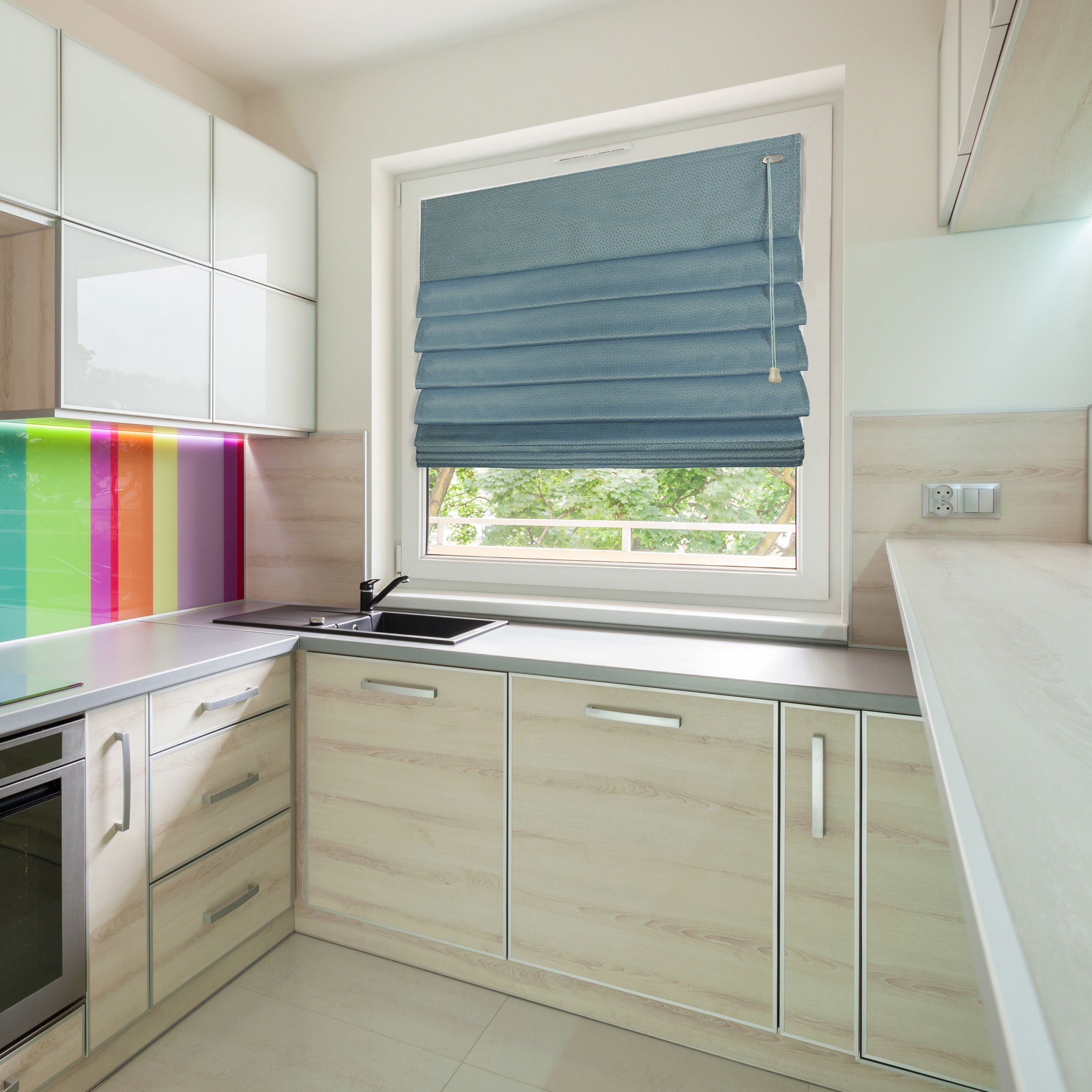 Kitchen window roman blinds  lewis hyman fabric thermal roman shade in  soft roman shades