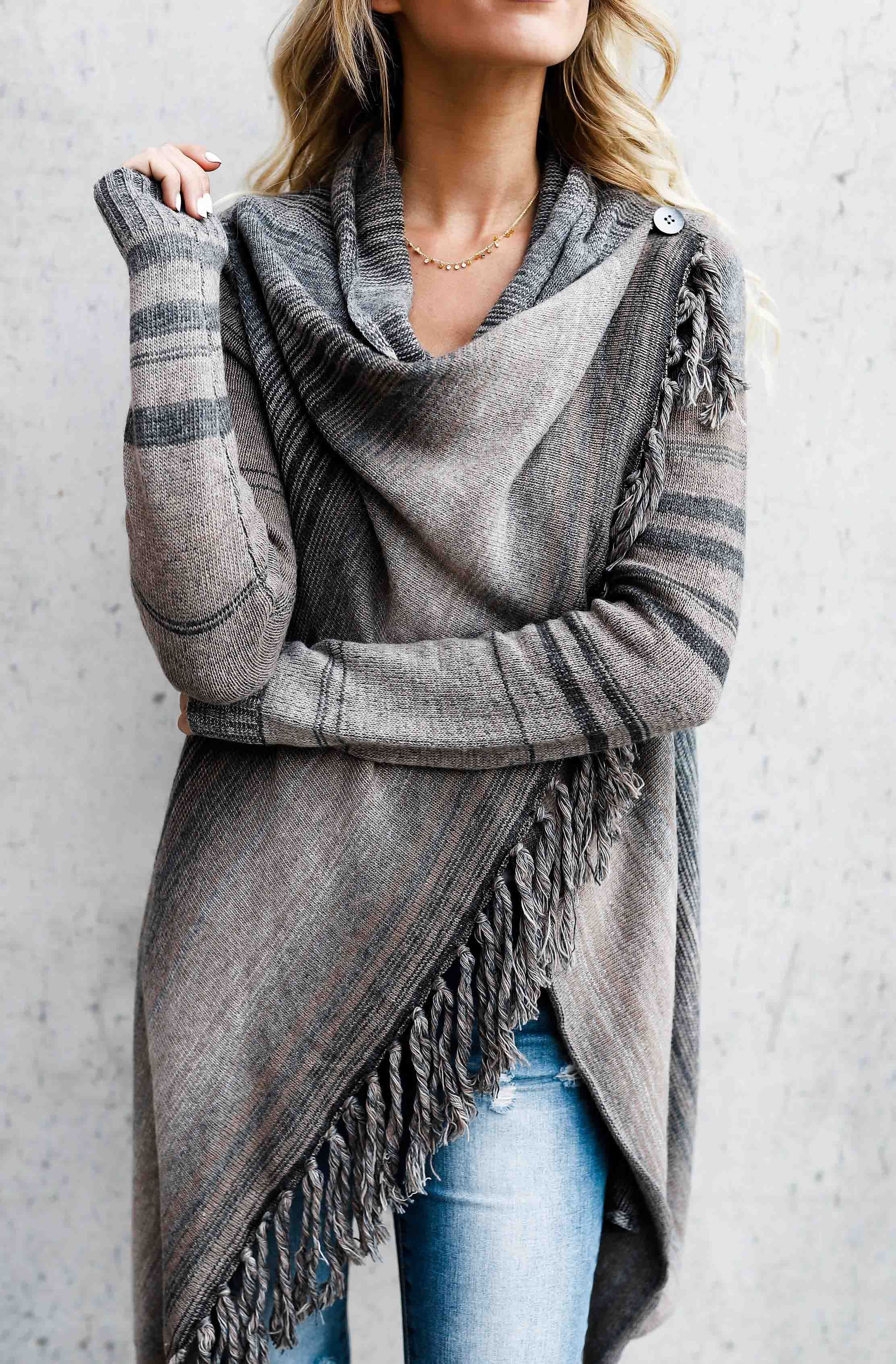 $47.99! Single Button Tassel Asymmetrical Hem Shawl Get ready for Fall fashion! Find fashionable outfits for the new season.
