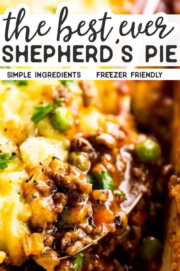 Homemade shepherd's pie is the ultimate comfort food. This simple recipe is made completely from scratch like the traditional, but uses ground beef instead of lamb for a more budget friendly family meal. Filled with healthy vegetables and super comforting flavors, this is the casserole recipe your St. Patrick's Day needs! Easy, filling, healthy and delicious. | #recipes #comfortfood #stpatricksday #casserole #beef #casserolerecipes #familyfriendly #irish #familyrecipes #casseroles #shepardspie