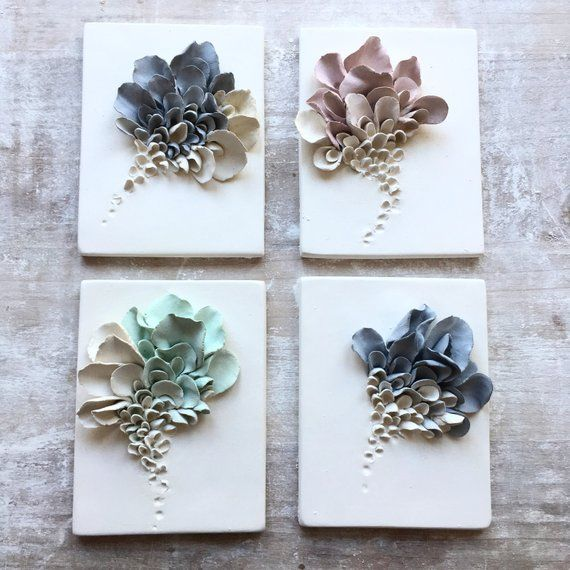 Photo of Ceramic Flower Wall Decor – Set of 4, Porcelain Artistic Tiles, White Coral, Turquoise, Black Wall sculptures, Flower Sculptures,Art Tiles