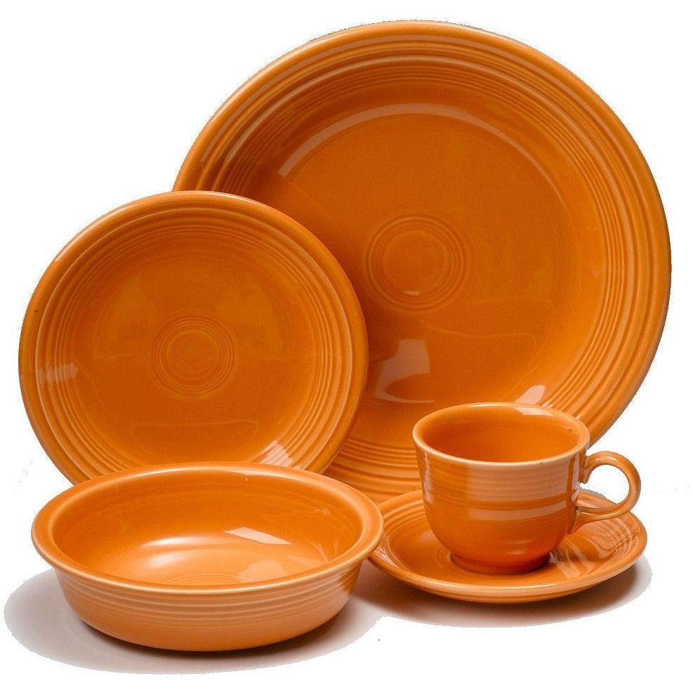 Fiesta Dinnerware 20 Piece Dining Set - Tangerine Orange  sc 1 st  Pinterest & Fiesta 20- Piece Dinnerware Set | Tangerine | Dining sets ...