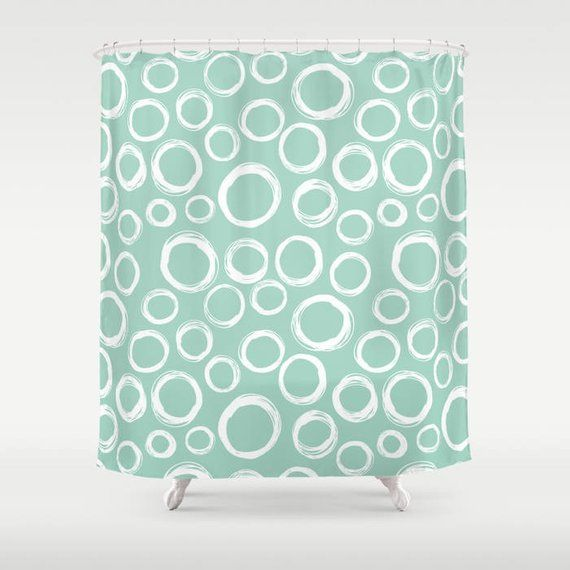 Bubbles Shower Curtain Circles Shower Curtain Mint Green Shower