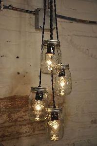 4-Mason-Jar-Chandelier-Pendant-Light-Fixture-Beautiful-Rustic-Industrial-Retro