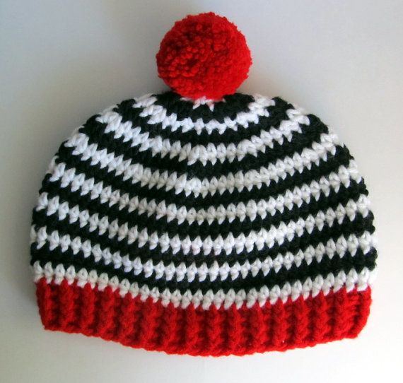 63fd027750d Crochet Black   White Striped hat with red trim and Pompom   Zebra striped  cap for boy or girl   2 to 5 year old striped beanie crochet cap
