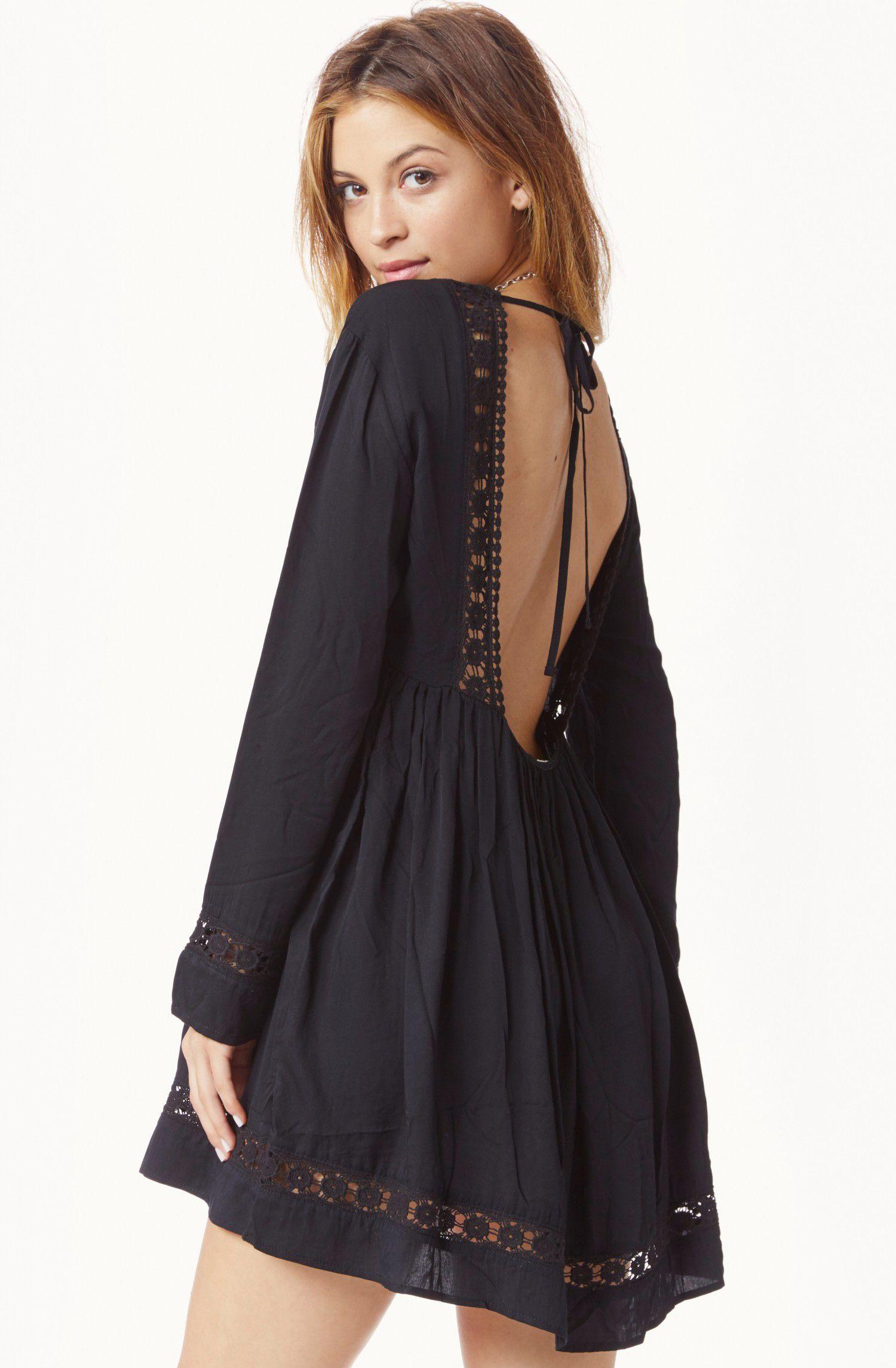 Black long sleeve backless dress my style pinterest long