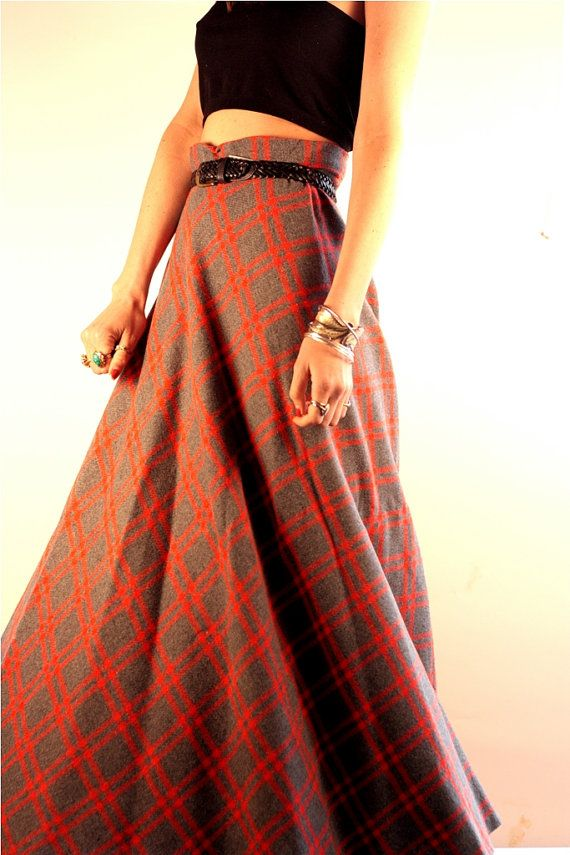 1940s Plaid Maxi Skirt | Coupe, Plaid and Maxis