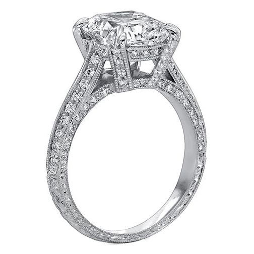 vintage style cushion diamond cathedral knife edge engagement ring 182 tcw in 14k white gold - Antique Style Wedding Rings