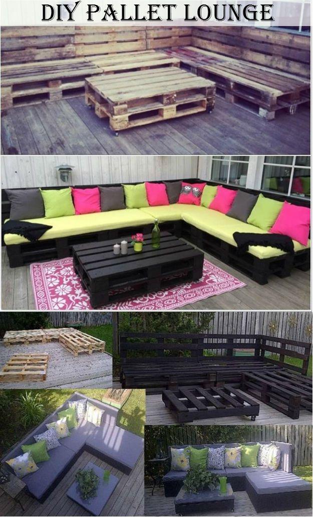 DIY Pallet Lounge | PAiLLETES SALON | Idées de meubles, Salon en ...