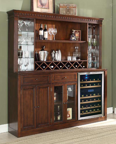 Distressed Walnut Back Bar W Hutch By E C I Furniture Home Gallery S