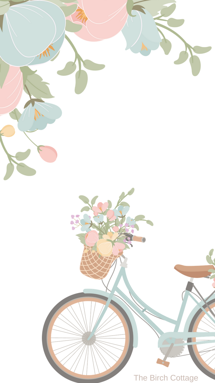 iPhone Watercolor Floral and Blue Bicycle Wallpaper by The Birch Cottage