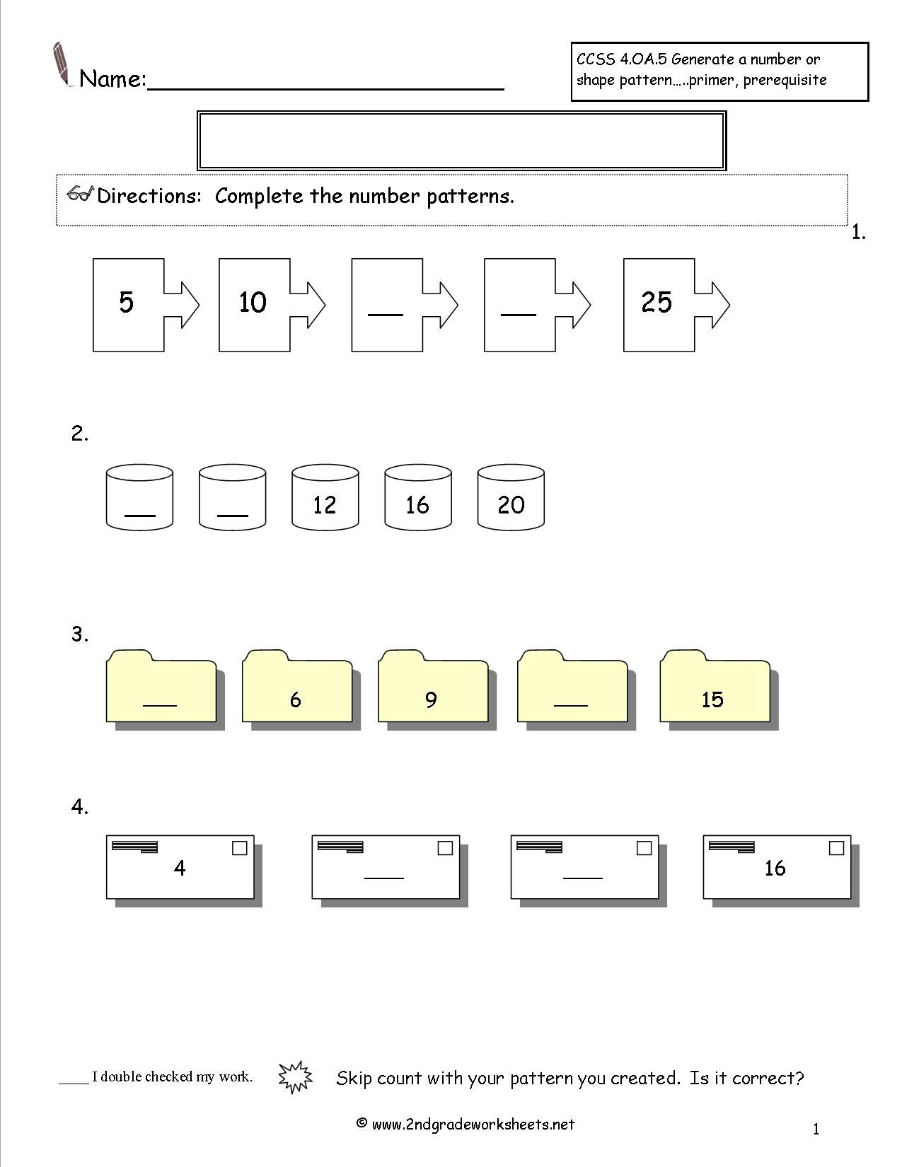 Number And Shape Patterns Worksheets Math Worksheet 4th
