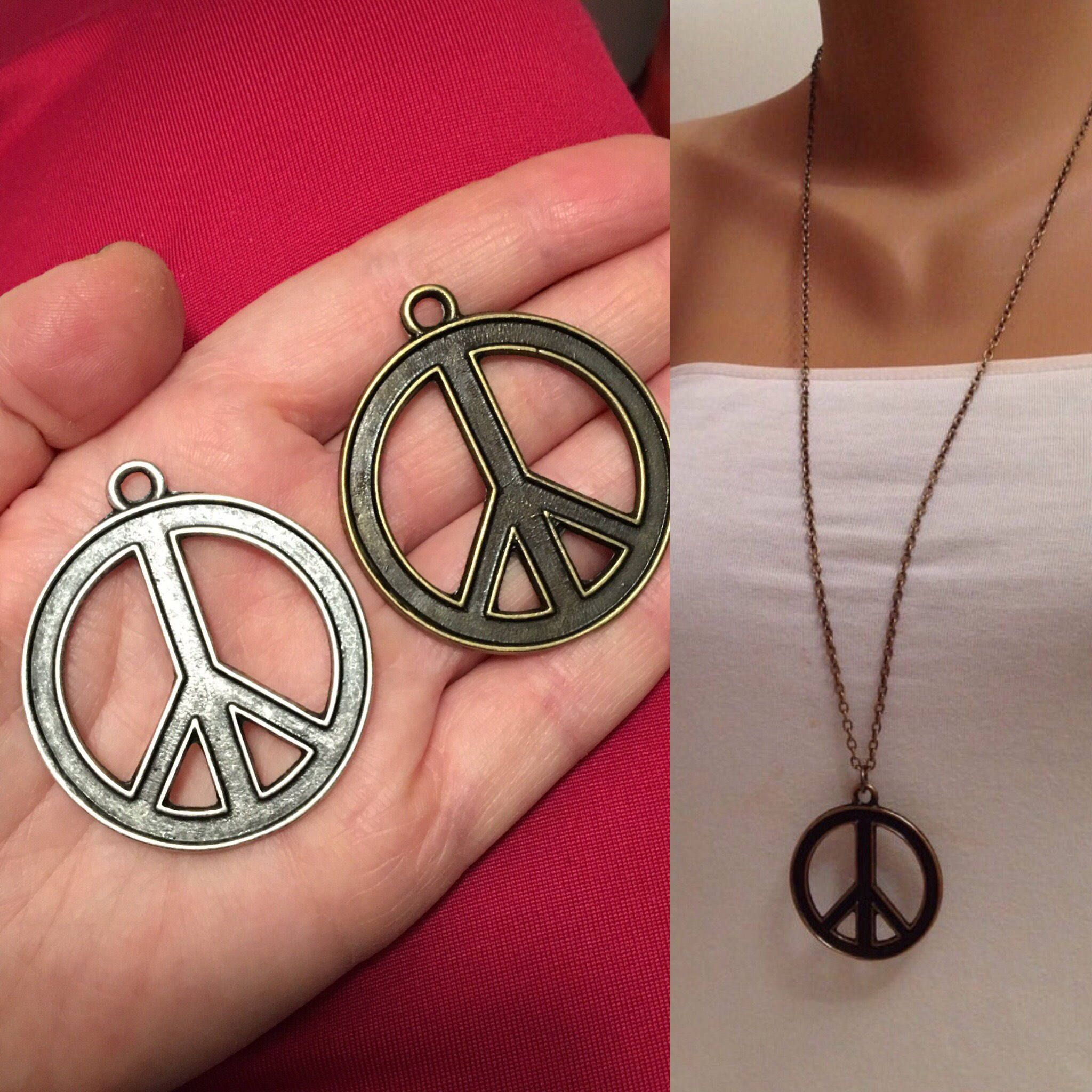 Brass Peace Sign Necklace Freedom Sign Necklace Freedom Etsy Peace Sign Necklace Antique Silver Necklace Gifts For Her