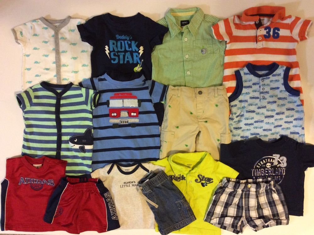 f97d17d10 Baby Boy 6 9 Month One Two Piece Outfits Romper Summer Clothes Lot Carter  Adidas | eBay