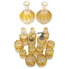 15 Piece Val Saint Lambert Crystal Valembert Pattern Dresser Vanity Perfume Set