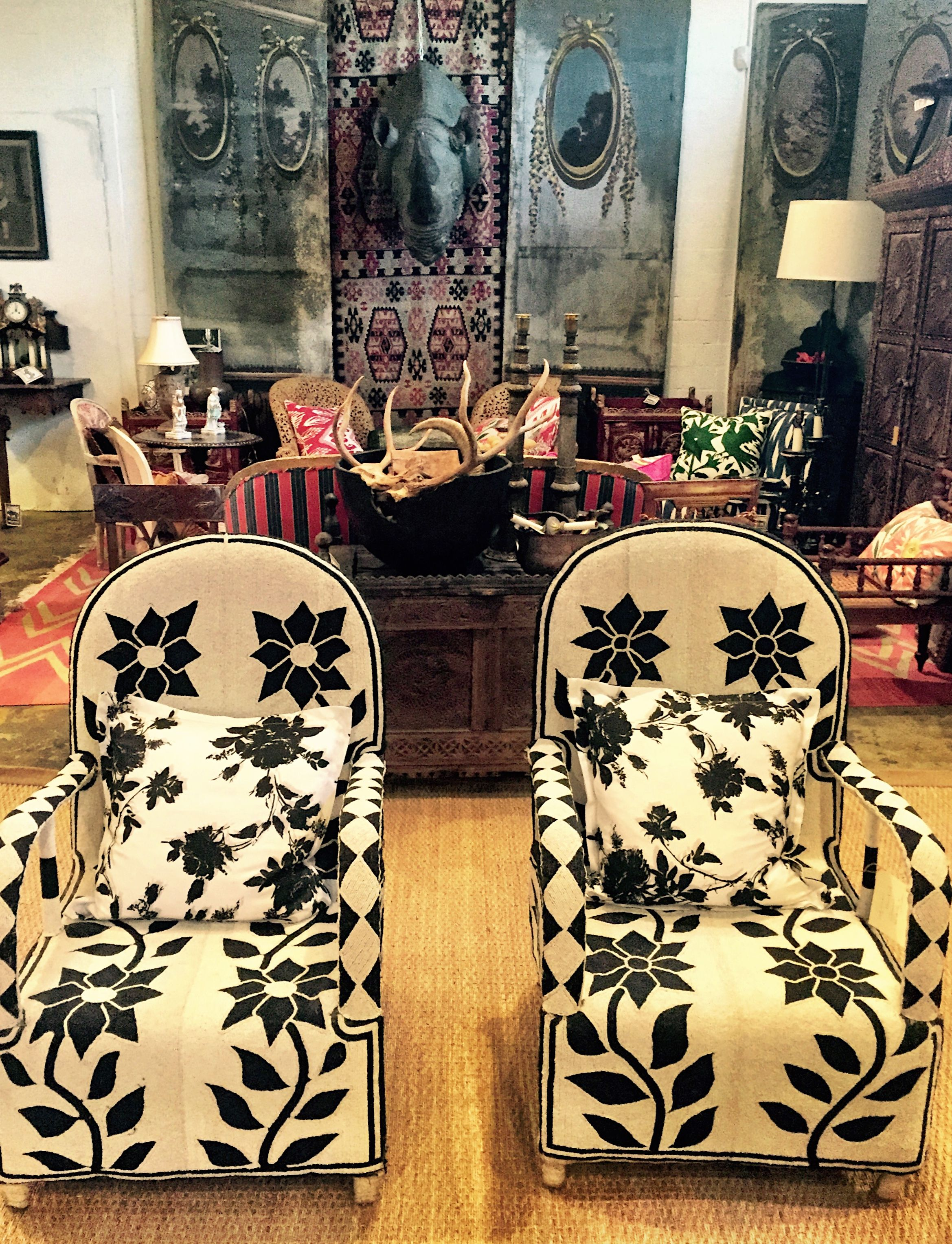 African Beaded Black And White Chairs Give The Ceylon Et Cie Showroom And  International Touch. #chairs #beading
