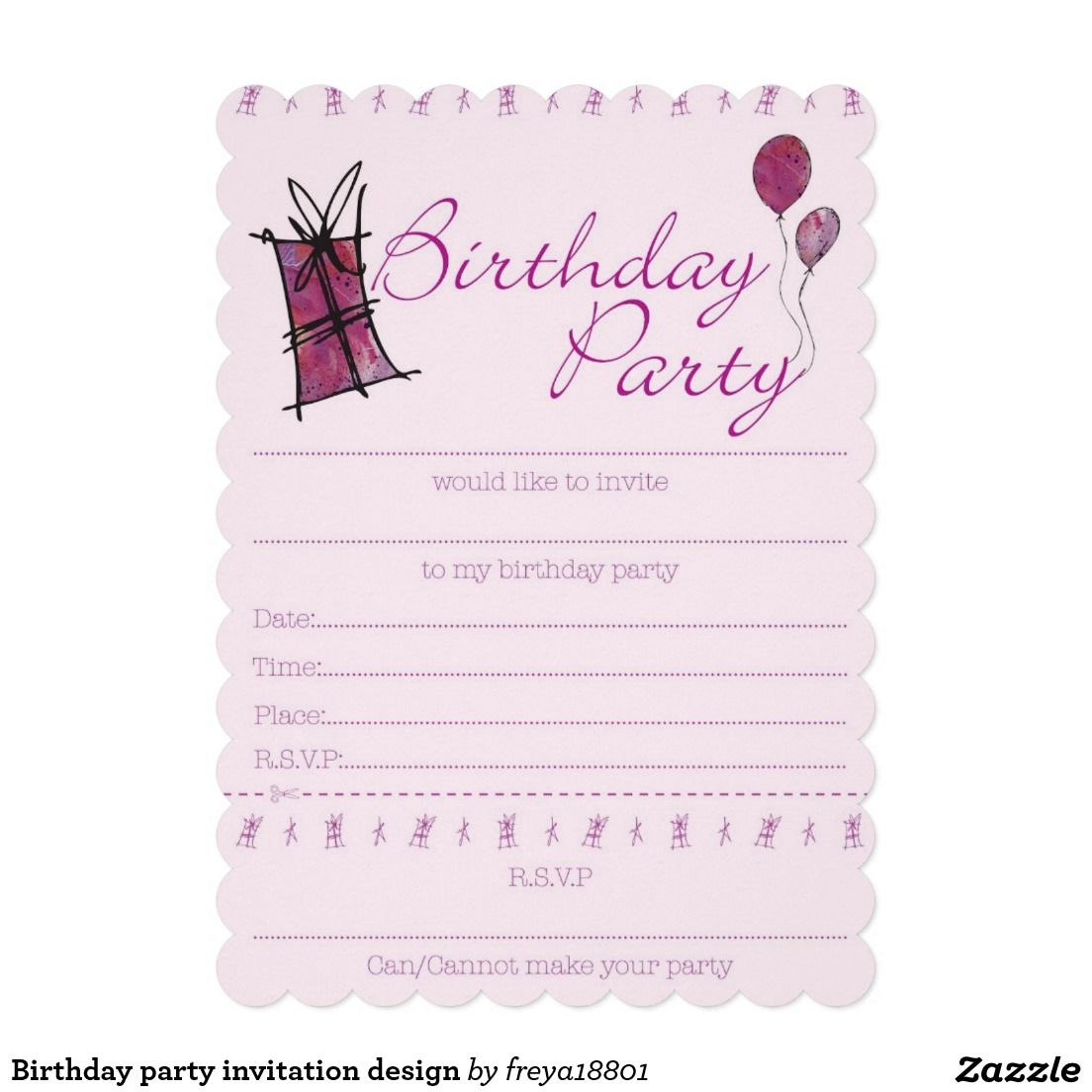 Birthday Party Invitation Design Zazzle Com In 2021 Birthday Party Invitations Free 13th Birthday Invitations Birthday Party Invitations Printable