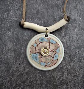 GEOFFREY-SWINDELL-gt-studio-pottery-gt-UNCOMMON-gt-blue-brown-gt-porcelain-gt-NECKLACE-gt-7623