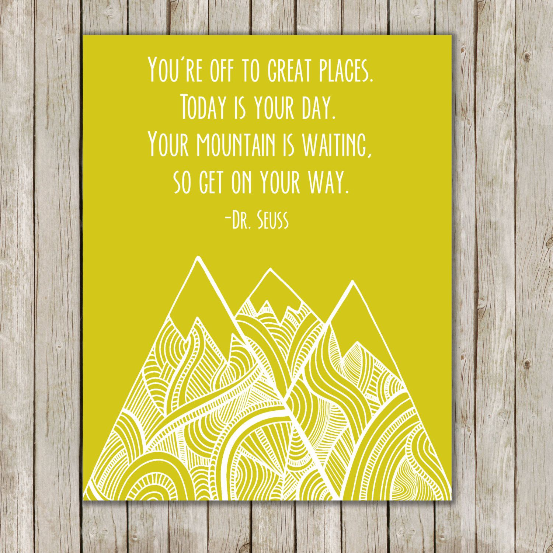 8x10 Dr. Seuss Art Print, Lime Green Nursery Print, You\'re Off To ...