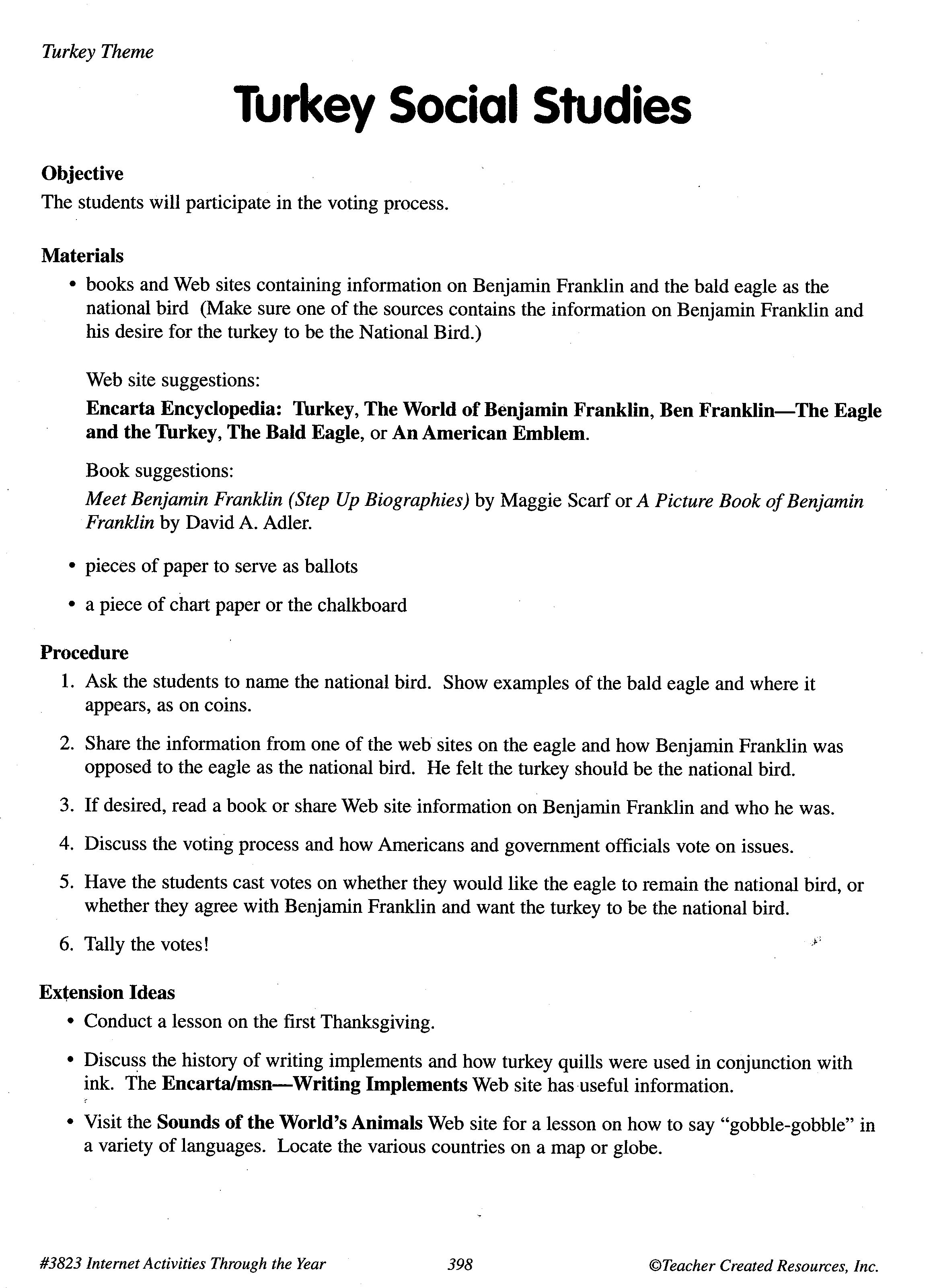 Turkey Social Studies lesson plan students learn about Benjamin – Social Studies Lesson Plans For Elementary Students