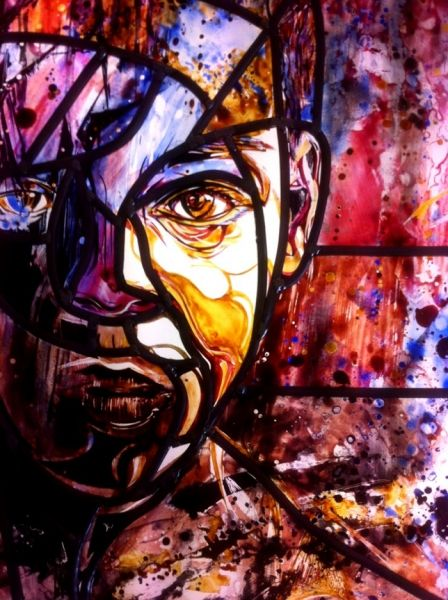 Stained glass installation by French artist C215