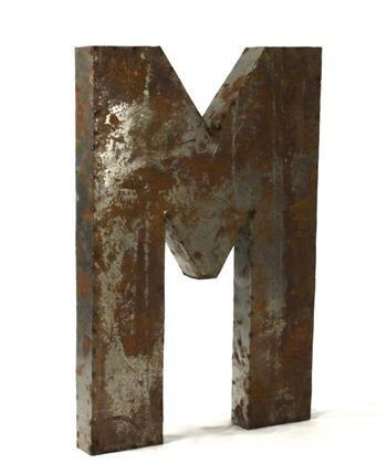 John Industrial Rustic Metal Large Letter M 36 Inch In 2021 Metal Letters Transitional Sculptures Rustic Metal