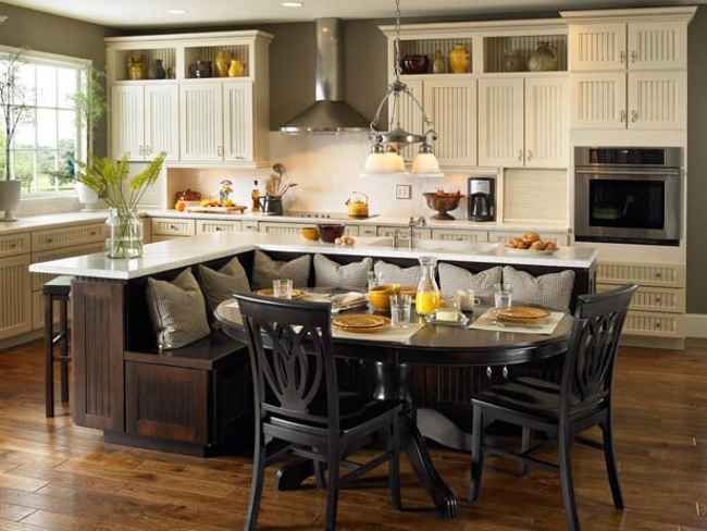 L shaped kitchen island with seating kitchen designs - Kitchen island with bench seating ...