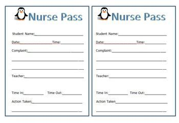 Penguin Theme Nurse Pass And Note Home  School Nurse Office